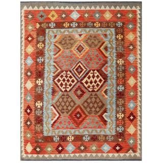 Herat Oriental Afghan Hand-woven Tribal Kilim Red/ Light Blue Wool Rug (5 x 6'5)