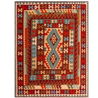 Herat Oriental Afghan Hand-woven Tribal Kilim Brown/ Red Wool Rug (5'2 x 6'7)