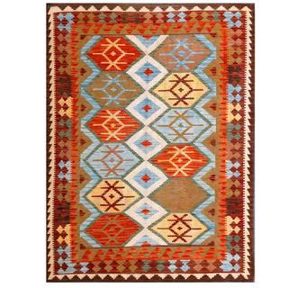 Herat Oriental Afghan Hand-woven Tribal Kilim Light Blue/ Red Wool Rug (4'10 x 6'6)