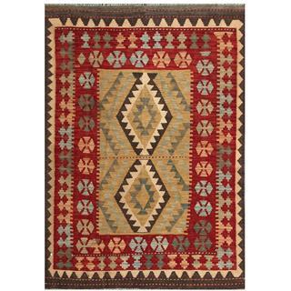 Herat Oriental Afghan Hand-woven Tribal Kilim Maroon/ Beige Wool Rug (4'1 x 5'9)