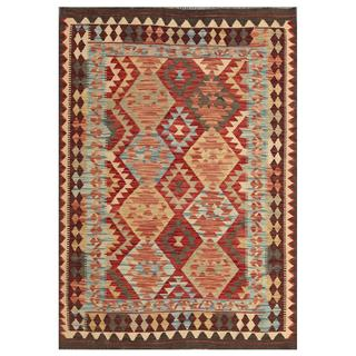 Herat Oriental Afghan Hand-woven Tribal Kilim Red/ Brown Wool Rug (4' x 5'9)