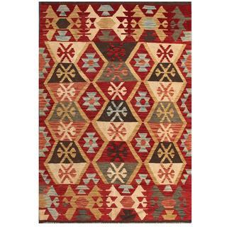 Herat Oriental Afghan Hand-woven Tribal Kilim Red/ Gold Wool Rug (4' x 5'11)
