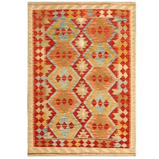 Herat Oriental Afghan Hand-woven Tribal Kilim Red/ Beige Wool Rug (4'1 x 6')