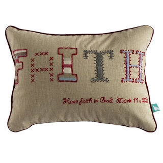 Hand-embroidered 'Faith' Pillow Cover (India)