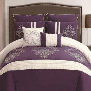 Waldorf Plum/ White 8-piece Embroidered Comforter Set