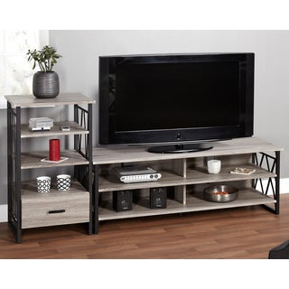 Simple Living Seneca 60-inch Black/ Grey 2-piece TV Stand and Pier Set