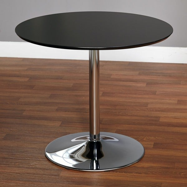 Vintage Chrome Kitchen Table: Round Dining Table Black Retro Kitchen Dinette Modern Home Furniture Chrome Base