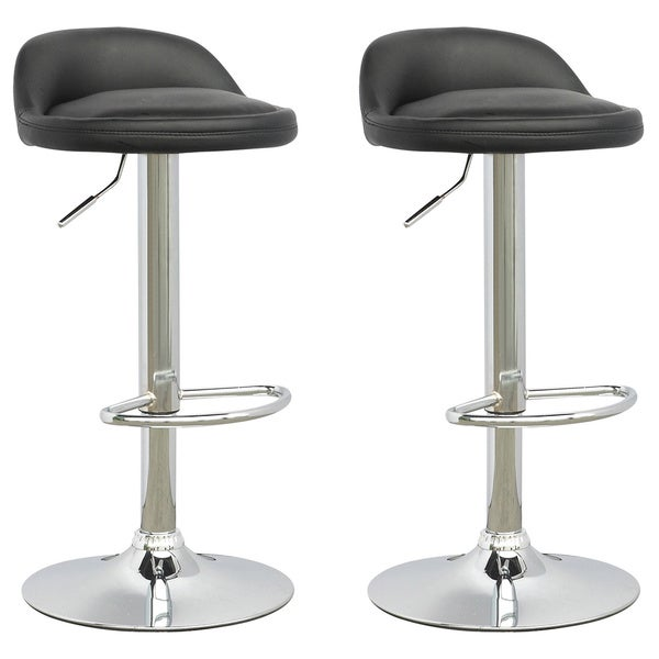 CorLiving Low Profile Adjustable Barstool in Leatherette (Set of 2)