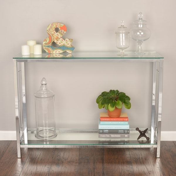 Worldwide Homefurnishings Living Room Tables Console Table with Shelf Chrome and Clear Tempered Glass grey 502-747