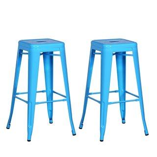 Adeco Sheet Iron Light Blue High Gloss Tolix-style Barstool (Set of 2)