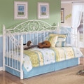Signature Designs by Ashley Exquisite White Metal Day Bed and Deck