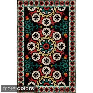 Uzbek Soul Black Hand-Hooked Wool Indoor Rug (8' x 10')
