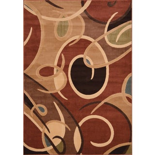 Miranda Contemporary Red Area Rug (5'3 x 7'7)