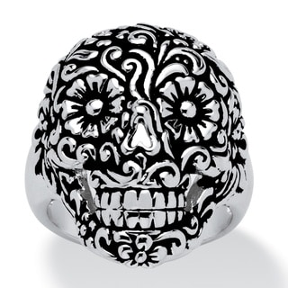 Toscana Collection Flowery Sugar Skull Ring