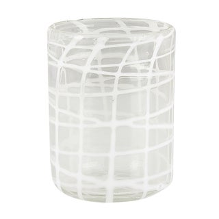 Abstract White Criss-Cross Rocks Glasses (Set of 4)