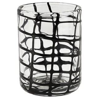 Black Criss-cross Abstract Rocks Glasses (Set of 4)