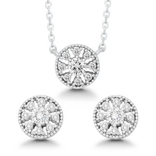 La Preciosa Sterling Silver Cubic Zirconia Circle Earrings and Pendant Necklace Set