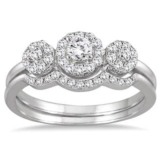 10k White Gold 1/2ct Three-stone Diamond Cluster Bridal Set (I-J,I1-I2)