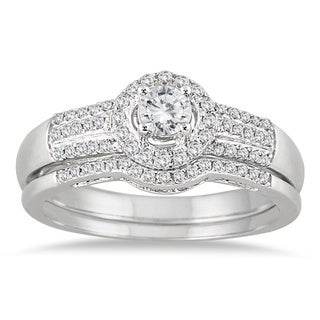 10k White Gold 2/5ct TDW Diamond Halo Bridal Ring Set (I-J, I1-I2)