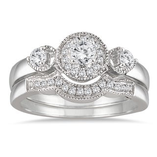 10k White Gold 1/2ct TDW Antique Diamond Bridal Ring Set (I-J, I1-I2)