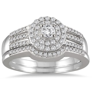 10k White Gold 1/2ct TDW Diamond Double Halo Split Shank Bridal Set (I-J, I1-I2)