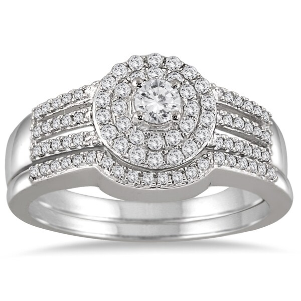 10k White Gold 1/2ct TDW Diamond Double Halo Split Shank Bridal Set (I-J, I1-I2)