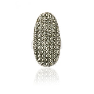 Sterling Silver Long Marcasite Ring