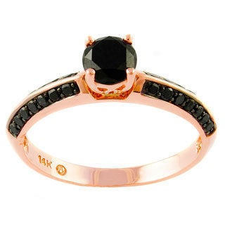 Beverly Hills Charm 14k Rose Gold 3/4ct TDW Black Diamond Engagement Ring