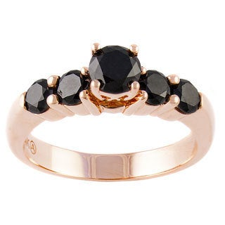Beverly Hills Charm 14k Rose Gold 1 1/5ct TDW Black Diamond Engagement Ring