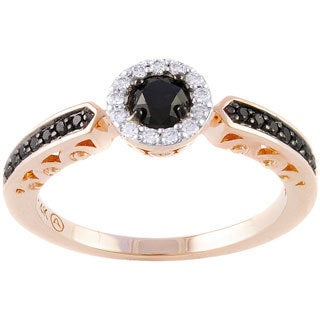 Beverly Hills Charm 14k Rose Gold 1/2ct Black and White Diamond Halo Engagement Ring (H-I, SI2-I1)