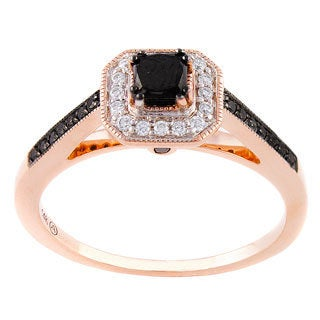 Beverly Hills Charm 14k Rose Gold 3/5ct TDW Black and White Engagement Diamond Ring (H-I, SI2-I1)