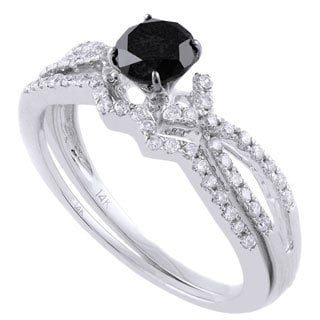 Beverly Hills Charm 14k White Gold 5/6ct Black and White Diamond Bridal Ring Set (H-I, SI2-I1)