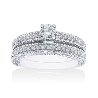 14k White Gold 1 1/3ct TDW Round-cut White Diamond Bridal Set (G-H, I2-I3)
