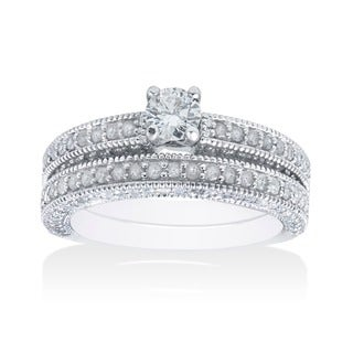 Bliss 14k White Gold 1 1/3ct TDW Diamond Bridal Set (G-H, I2-I3)