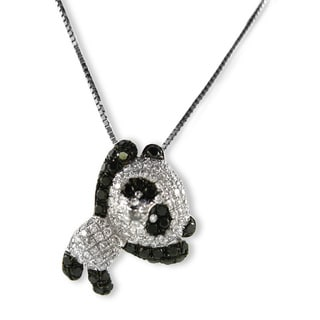 Kabella Luxe 18k Gold 5/8ct TDW Diamond Panda Bear Pendant Necklace (H-I, SI1-SI2)