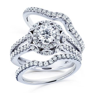 Annello 14k White Gold 1 2/5ct TDW Round Diamond Floral 3-piece Bridal Rings Set (H-I, I1-I2)