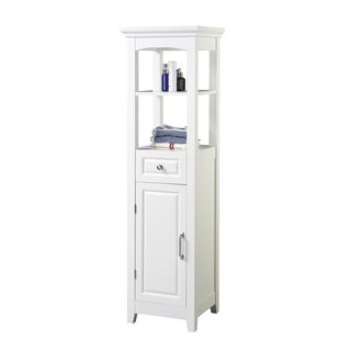 Chamber Collection White 4-shelf Bathroom Linen Tower
