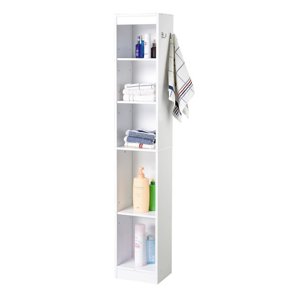 homestar hall collection 5 shelf white laminate bathroom linen tower
