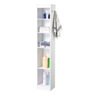 Homestyle Hall Collection 5-shelf Laminate Bathroom Linen Tower in White