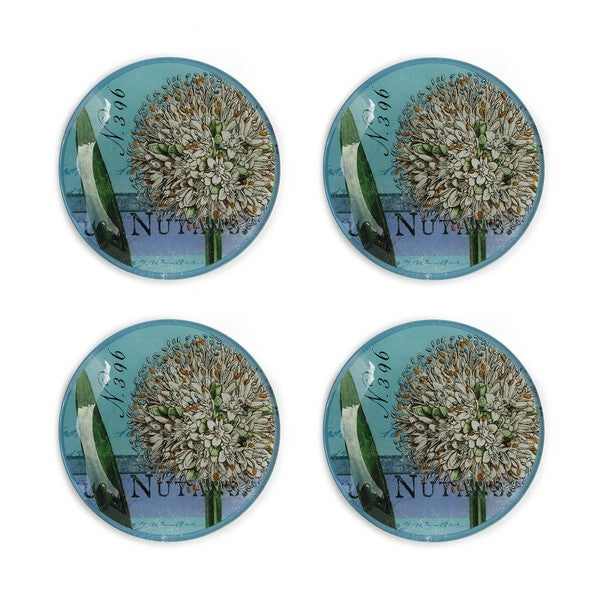 Notions botanique bleu set of 4 canape plate for Canape plate definition