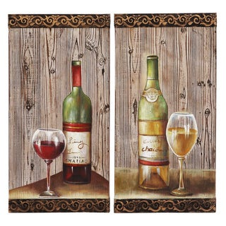Napa Valley Artisan Wine Bottles Wood Wall Accent Decor (Set of 2)
