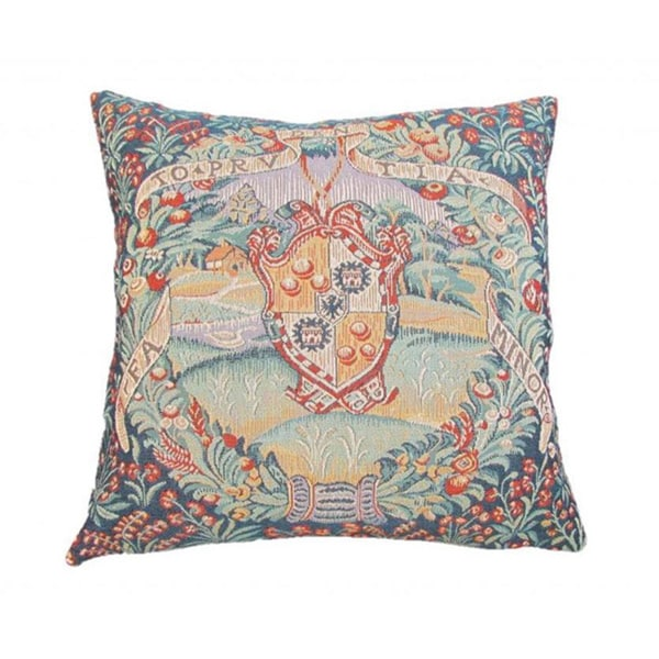 French Woven Floral Crest Design Decorative Throw Pillow