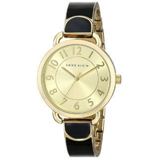 Anne Klein Women's AK-1606BKGB Black and Goldtone Watch