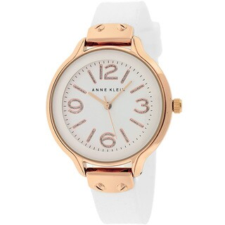 Anne Klein Women's AK-1614RGWT Classic White Silicone Rosetone Watch