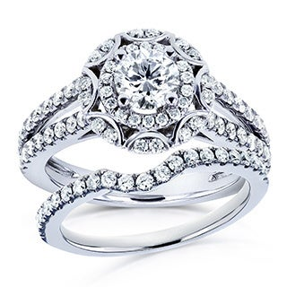 Annello 14k White Gold 1 1/5ct TDW Round Diamond Floral 2-piece Bridal Rings Set (H-I, I1-I2)