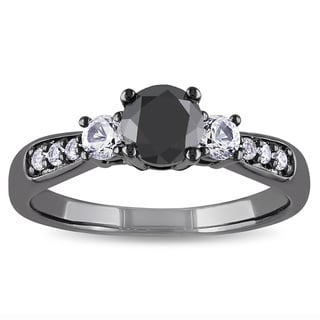 Miadora Silver Created White Sapphire and 3/4ct TDW Black Diamond Ring