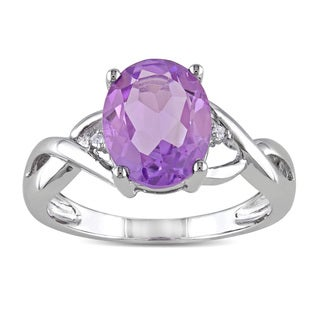 Miadora 10k White Gold 2 1/5ct TGW Amethyst and Diamond Accent Cocktail Ring