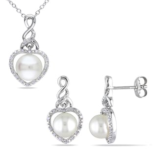 Miadora Silver White Pearl with 1/6ct TDW Diamond Necklace and Earrings 2-piece Set (7-8.5 mm) (H-I, I3-I3)