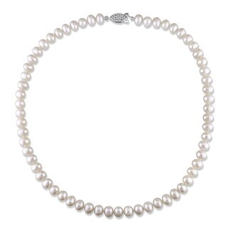 M by Miadora White Cultured Freshwater Pearl Necklace (6.5-7 mm)