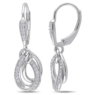 Miadora Sterling Silver 1/4ct TDW Diamond Dangle Earrings (H-I, I2-I3)